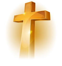 Gold christian cross vector