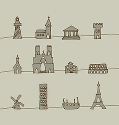 Handdrawn buildings vector