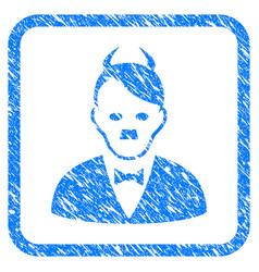 Hitler devil framed grunge icon vector