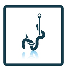 Icon of worm on hook vector image vector image