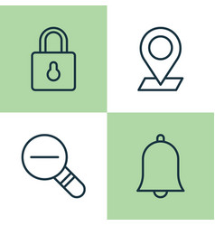 icons set collection of bell safeguard pinpoint vector image