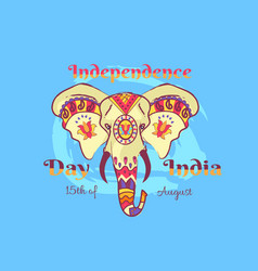 independence day of india poster with elephant vector image