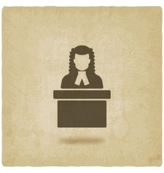 Judge in wig old background vector