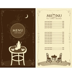 menu for the night cafe vector image vector image