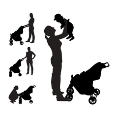 Mother with pram Silhouette vector image vector image