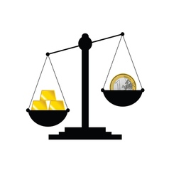 Scale with gold bars and euro vector