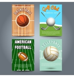 Sport brochure flyers template set vector