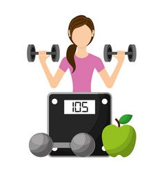 sporty woman lifting a heavy weight barbell with vector image