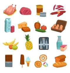 Supermarket food set vector
