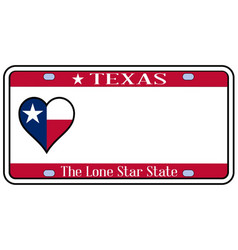 Texas state license plate vector