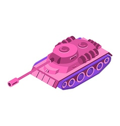 Toy Pink Tank Isometric on white background vector image
