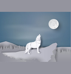 Wolf howl on the cliff vector