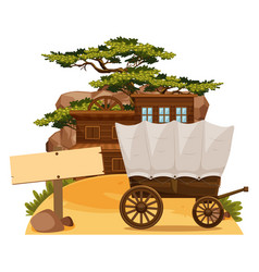 wooden sign and wertern scene in background vector image