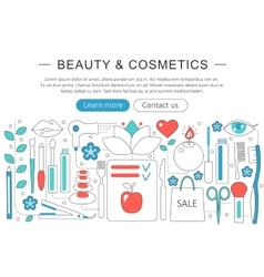 Modern flat thin line design beauty and cosmetics vector