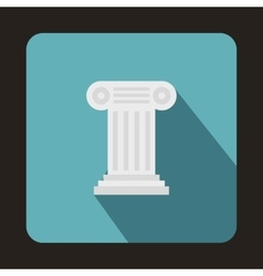 Ancient ionic pillar icon flat style vector
