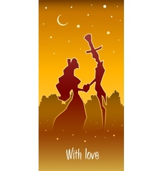 Retro loving couple hold heart vector
