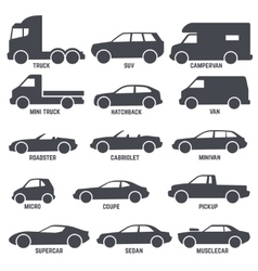 Car automobile types black icons isolated vector