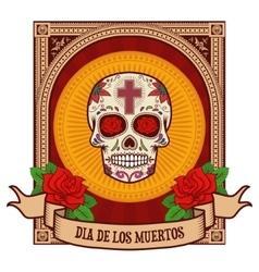 day of the dead Sugar skull in vintage frame vector image