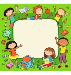 Kids bunner around square banner vector