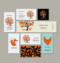 Business cards collection foxy tree design vector