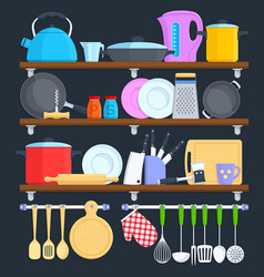 kitchen shelves with cookware and cooking vector image