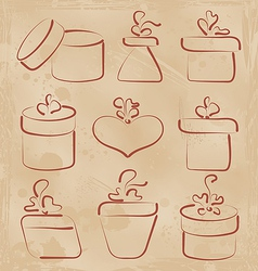 Hand drawn set gift boxes for your anniversary vector image