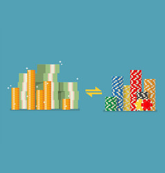 Cash money exchange for casino chips vector