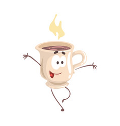 Cute cartoon cup of coffee with smiley face funny vector