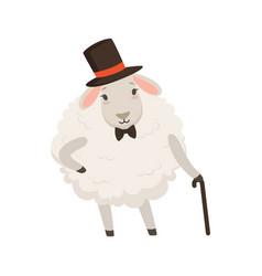 Cute gentleman sheep character wearing top hat vector