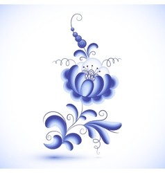 Blue floral element in gzhel style vector image