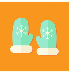 Santa mint gloves christmas flat icon vector