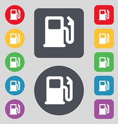 Petrol or gas station car fuel icon sign a set of vector