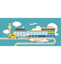 Plane and airport flat design object vector