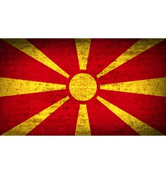 Flags macedonia with dirty paper texture vector