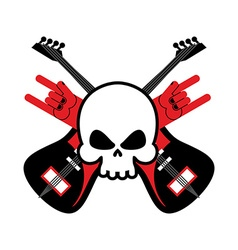 Skull with guitars and rock hand symbol logo for vector