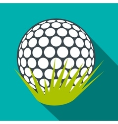 Golf ball on green grass flat icon vector