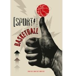 Basketball vintage grunge style poster vector image