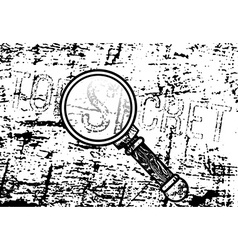 Top secret inscription with a magnifying glass vector