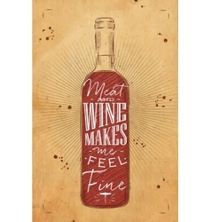 Poster meat and wine chalk vector