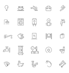 plumbing outline icons set vector image