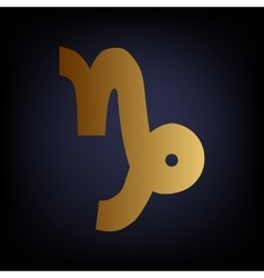 Capricorn sign golden style icon vector