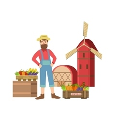 Bearded Farmer Selling Vegetables In Small Town vector image vector image