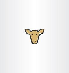 Brown cow head icon vector