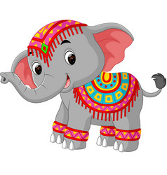 cartoon elephant with traditional costume vector image vector image