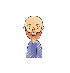 Color crayon stripe caricature side view bald man vector