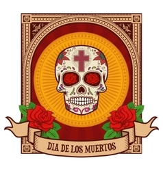 day of the dead Sugar skull in vintage frame vector image