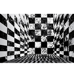 Dirty checkered room vector