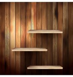 Empty shelf for exhibit on wood background EPS 10 vector image vector image