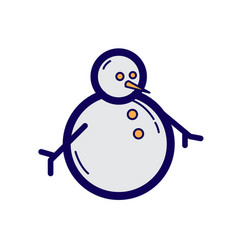 flat color snowman icon vector image