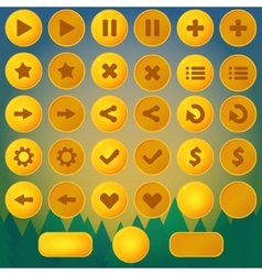 Game menu yellow ui buttons vector